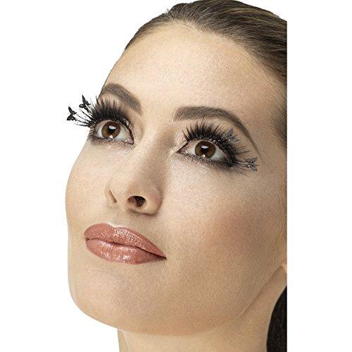 Damen Kostüm Schmetterling - Fever Damen Schmetterling Wimpern Set, Kleber inklusive, One Size, Schwarz, 47060