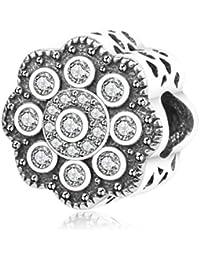 b18edbf2b111 Retro Snowflack Bead de flor de plata de ley 925 para Navidad regalos de  ajuste colgantes