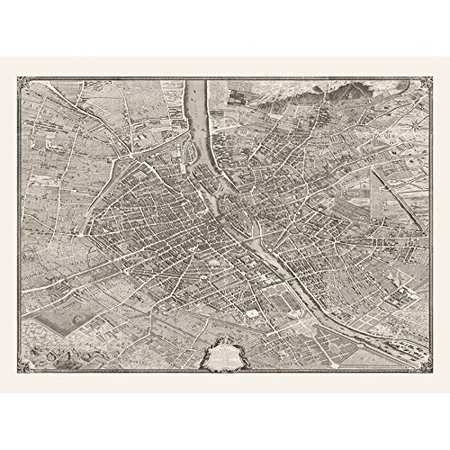 1736 Paris City France Map Art Print Canvas Premium Wall Decor Poster Mural Stadt Frankreich Karte Wand Deko ()