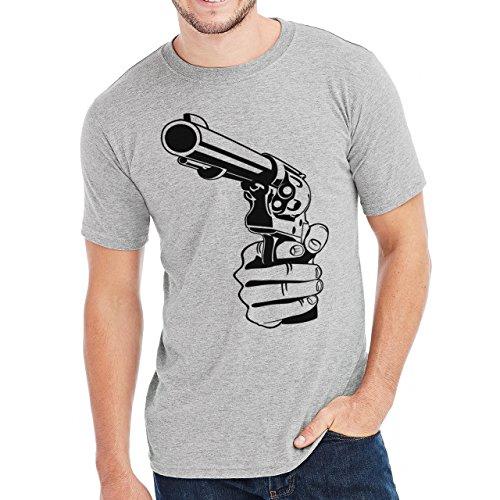 Thug Life Swag Gangster Revolver Herren T-Shirt Grau