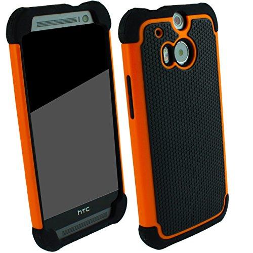 Outdoorschutzhülle für HTC ONE M8 orange Case inkl. Panzerglas 9H transparent Outdoor Cover Hybrid Schutz Hülle Sturz Bumper Folie Schwarz Black