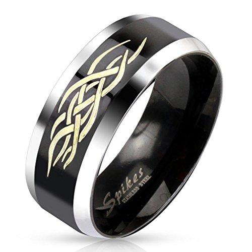 Ring für Herren Edelstahl schwarz mit Tribal Motiv – schwarzer Edelstahlring für Jungen Teens – Modeschmuck Trauring – in 4 verschiedenen Größen