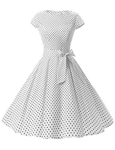 Dressystar Damen Vintage 50er Cap Sleeves Dot Einfarbig Rockabilly Swing Kleider Weiß Schwarz Dot A XS - Audrey Reißverschluss-etui