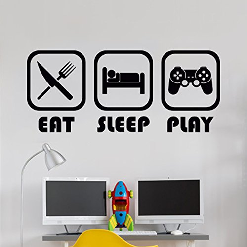 Eat Sleep Play Kinderzimmer Wandaufkleber Mural Vinyl Decal Kindergarten Kinder Gamer Kunst Teenager Video Spiel Wandbild