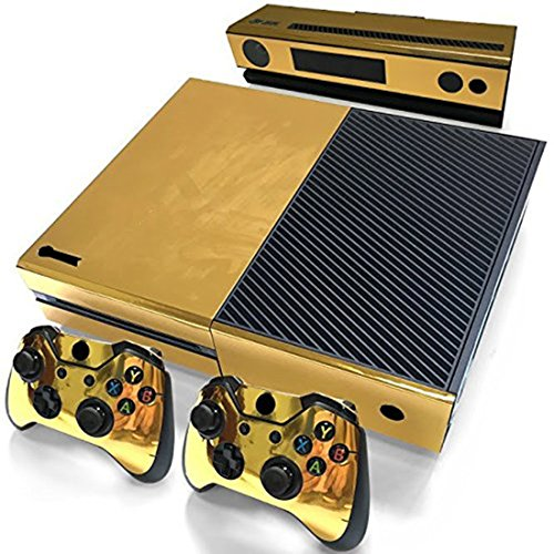 Price comparison product image Glossy Gold Vinyl Decal Full Body Faceplates Skin Sticker For Xbox one console x 1 and controller x 2