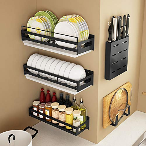 Abtropfbrett, Edelstahlregal Wandmontage Diy Besteckhalter, Gewürzregale Punch Free Wandregale Kitchen Organizer Stand