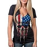 YeeHoo Damen Sommer V-Ausschnitt T-Shirt Amerikanisch Flagge Kurze Ärmel Bluse Shirt Top Sexy S-XL