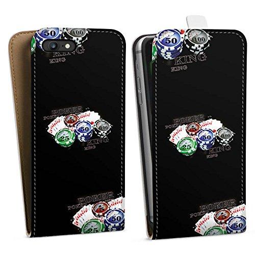 Apple iPhone X Silikon Hülle Case Schutzhülle Poker Kartenspiel Casino Downflip Tasche weiß
