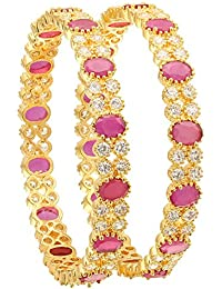 Sasitrends American Diamond Stone Studded Micro Gold Plated CZ/AD Bangles For Women And Girls