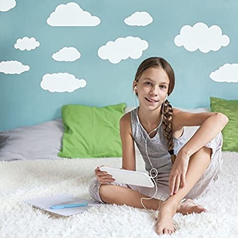 Supertogether White Clouds Childrens Wall Stickers - Large Kids Bedroom Nursery Decorative Decals Pack of 26