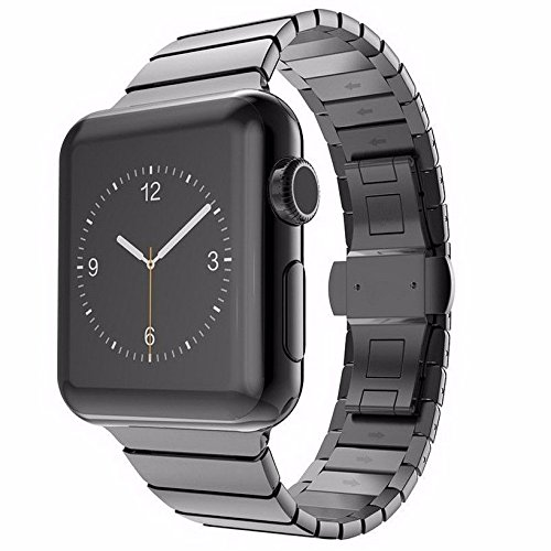Apple Watch 42 mm Butterfly Edelstahl Stainless Steel Armband für Series 1 / 2 / 3 Basic / Sport / Edition in Schwarz