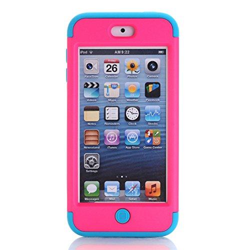 Apple iPod Touch 5/6 Hülle , AyiHuan iPod Touch 5/6 Case - Stoßfest / High Impact 3in1 gemischt Körperpanzer schützen Schutzhülle Apple iPod Touch 5 iPod Touch 6 + 1 Diamant-Staub-Stecker + 1X Stylus, Rose / Blau