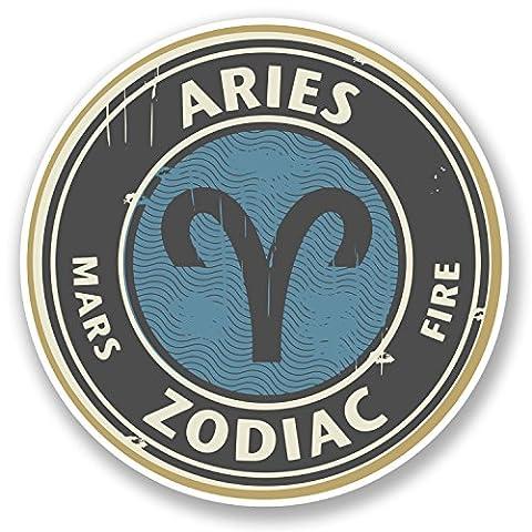 2 x Aries Vinyl Sticker Decal iPad Laptop Star Sign Zodiac Birth Horoscope #4665 (10cm x 10cm)