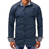 Herrenhemd Business mit Knopf für Herren und Herren, lässiger Ärmel, langärmliges Shirt aus Netzstoff, blau