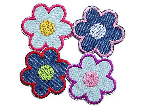 Set 4 Jeansflicken Blume Patch zum Aufbügeln Bügelbild Accessoire für Kinder Erwachsene 5 cm