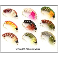 ARC 9 Trout Fishing Flies WEIGHTED CZECH NYMPHS Hook sizes 10 12 14