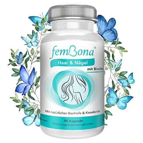 femBona® Haar & Nägel - 3-Komponenten-Kur für 3 Monate - vegan - hochdosiertes Biotin - Silicea Terra, Kieselerde - prebiotische Bierhefe - Vitamine Nährstoffe beliebt bei Haarausfall, Nagelbruch,