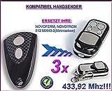 3 X NOVOFERM / NOVOTRON 512 MIX43-2 (mini carbon) kompatibel handsender, ersatz sender, 433.92Mhz !!!