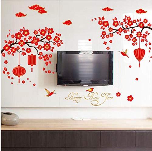 Chinesische Malerei Frohes Neues Jahr Wandaufkleber Wohnkultur, Wohnzimmer Blume Schlafzimmer Dekoration Wc Aufkleber Poster (Neues Machen Jahr-dekorationen Chinesische)
