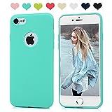 Funda iPhone 7 Silicona, KASOS iPhone 7 Carcasa TPU Mate Opaco Ultrafina Suave + HD Protector de Pantalla Estilo Sencillo y Elegante Color Verde Menta