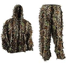 icase4u 3D camuflaje militar Ghillie Suit Ropa de caza Pantalla de tela de camuflaje Tacticle Pantalon Bosques Ghillie Traje (E)
