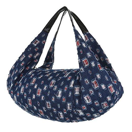 iTal-dEsiGn Damentasche Übergroße Shopper Schultertasche Tragetasche Textil TA-A107 Blau Schwarz