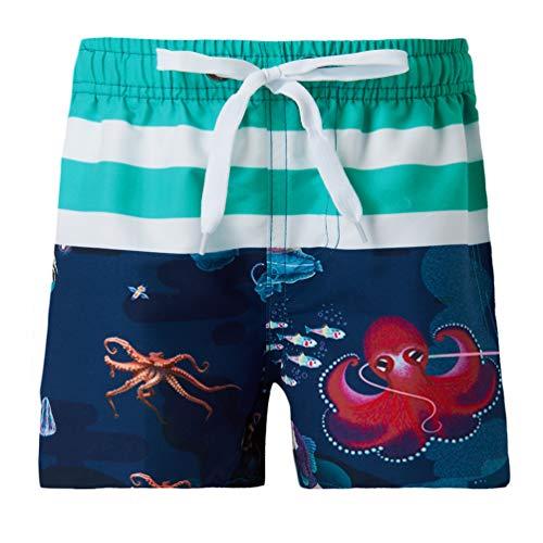 Funnycokid Kinder Badeshorts Sommer Octopus Elastic Schnelltrocknend Jungen Badeanzüge mit Taschen