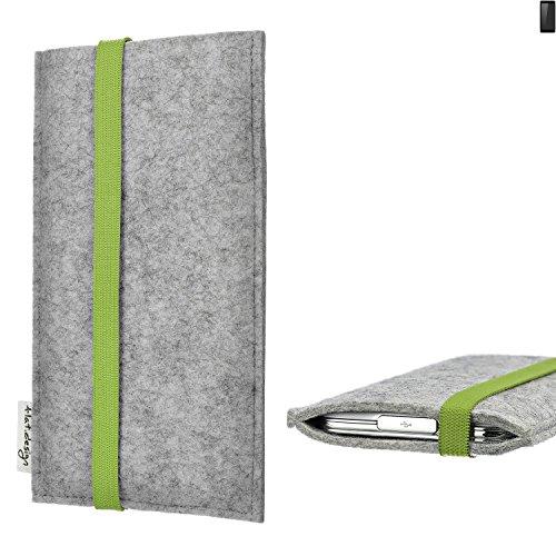 flat.design Handy Hülle Coimbra für Ruggear RG850 maßgefertigte Handytasche Filz Tasche fair grün hellgrau