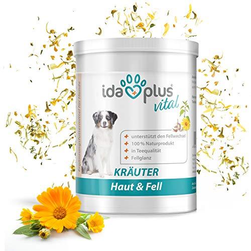 Ida Plus – Kräuter Haut & Fell (150 g) 100% natürlich zur Fellpflege bei Hund & Katze, Hundefutter Zusatz für den Fellwechsel