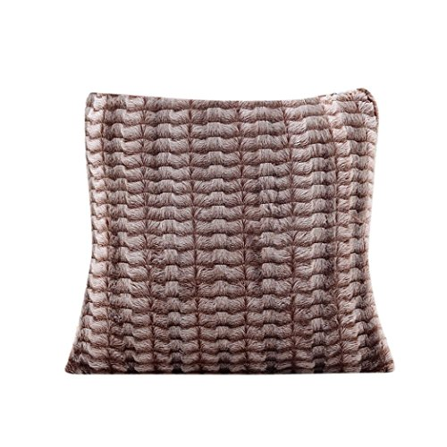 Decorie Simplicity Elegant Plush Throw Cushion Cover for Sofa Home Decor (Brown)