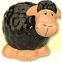 Preisvergleich für NN Spardose Schaf Keramik mit Schloss ca. 12 cm hoch schwarz