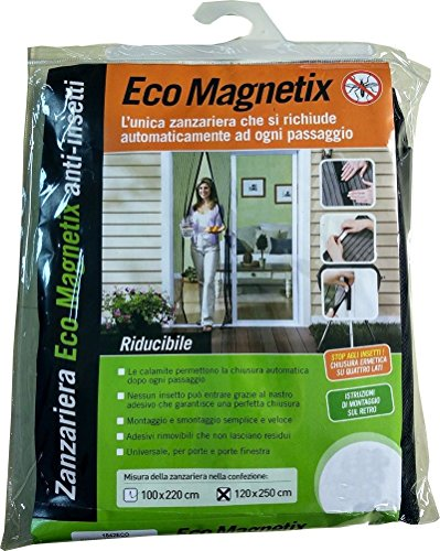 Tenda zanzariera magnetica nera con 18 calamite 120 x 250 cm per porta balcone