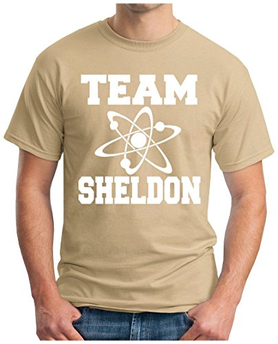 OM3 - BIG-BANG-TEAM-S-WS - T-Shirt ATOM PENNY KITTY GEEK EMO FUN SITCOM TBBT NERD SARCASM PARODY, S - 5XL Khaki