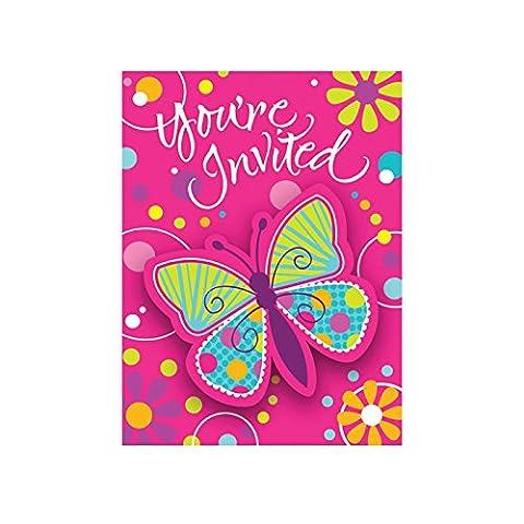 NEU Einladung Schmetterling, 10x12 cm, 8 Stück (Kostüm-party-einladung Für Kinder)