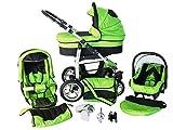 Chilly Kids Dino 3 in 1 Kinderwagen Set (Autosit & Adapter, Regenschutz, Moskitonetz, Schwenkräder) 22 Grün & Schwarz