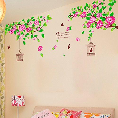 maison-autocollant-murales-decoratives-art-vinyl-mural-autocollant-hibiscus-fleurs-oiseaux-cages-tre