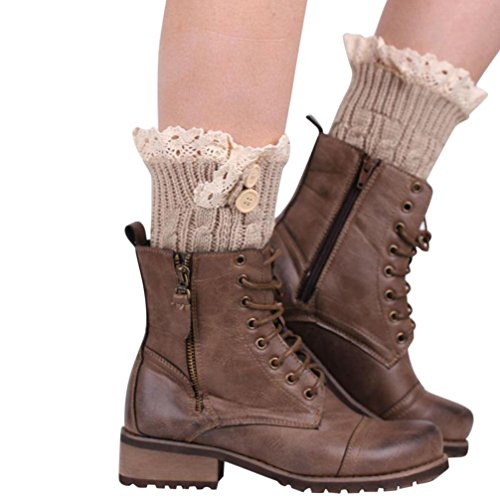 Amlaiworld Chaussettes Tricot Crochet Boots Cover Femme, Botte Extensible Dentelle Boot Socks Boot Cuff (22/8,7, Beige)