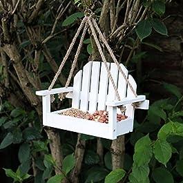 Bianco Panchina Shaped Appeso Mangiatoia Per Uccelli