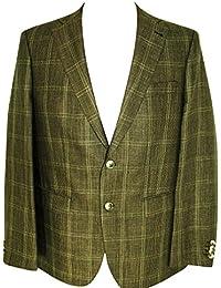 BARUTTI Herren Wolle/Leinen Sakko Mens Wool Blazer Gr. 50 Braun mel. Karo S118