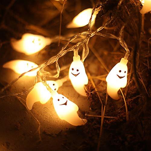 Weihnachtslaterne-Halloween-Dekoration-helle Reihe Produkt-Batterie-Kasten führte Kürbis-Licht-Schnur-Geist-Schläger-Weihnachtslaterne, weißer Geist 3 Meter 20L