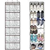 Door Hanging Shoe Storage Organizer, Bidear 22 Pockets Multi-functional Large Storage Bag for Kids room/ Kitchen/ Wardrobe/ Bathroom (Brown PVC)
