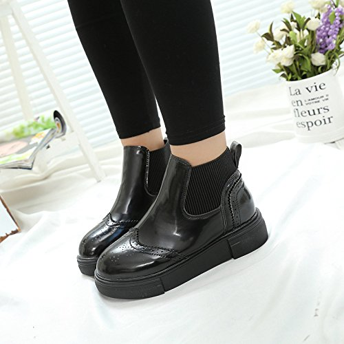 Winter Boots Leather Boots Female Female Flat black