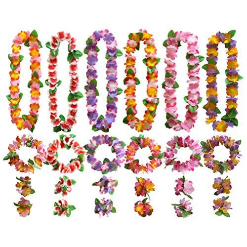Amosfun 6 Set Hawaiian Blumen Stirband Armband Halsketten Blumen Leis Armbänder und Stirnbänder Hawaii Rock Zubehör