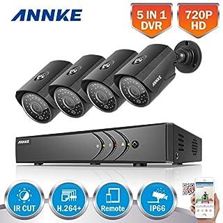 ANNKE Videoüberwachung 4CH AHD 1080N HDMI DVR Recorder + 4X 1.0MP 720P Outdoor Überwachungskamera CCTV Wasserdicht Sicherheitskamera P2P Bewegungsmelder