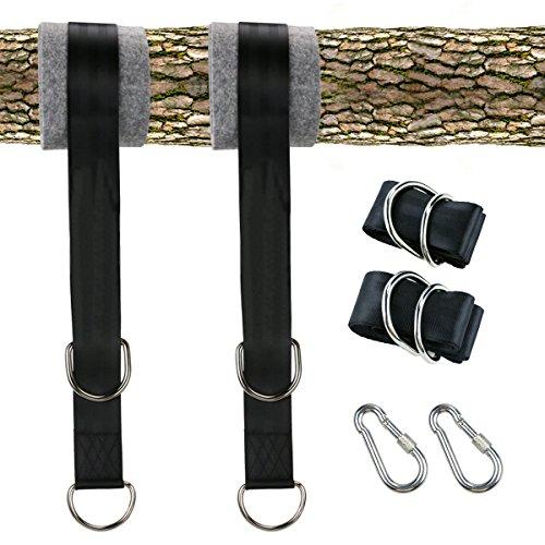 Yokunat Swing Hanging Gurt Kit hält 550 kg, 150 extra lange Riemen mit sicherer Snap Karabiner Haken für Baum Swing und Hängematten der mit Baum Schutz Weiche Net Gerät