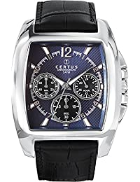 Certus 613107 - Reloj analógico de cuarzo para hombre, correa de cuero color azul