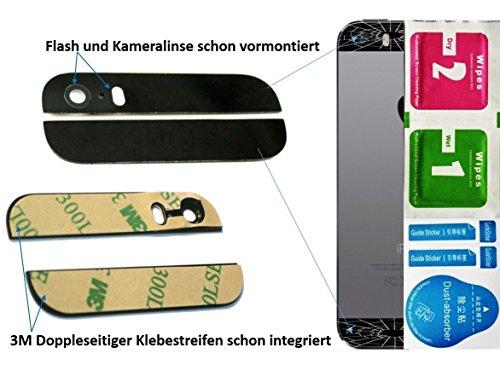 Genieforce® Schwarz 2-in-1 Ersatz Glas Set (Oben/Unten) für iPhone 5S Backcover mit Blitz- und Kameralinse - Glasset inkl. 3-in1 Reinigungset - SCHWARZ  - 5c Iphone Ersatz-linse