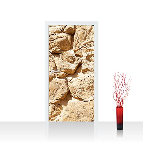 Türtapete selbstklebend 100x211 cm PREMIUM PLUS Tür Fototapete Türposter Türpanel Foto Tapete Bild - ROCK STONE WALL - Steinwand Steintapete Wand Wall Beige Felsen Große Steine - no. 025
