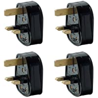 Pack of 4 UK 3 Pin 13A Fused Mains Plugs - Black by Solent Cables