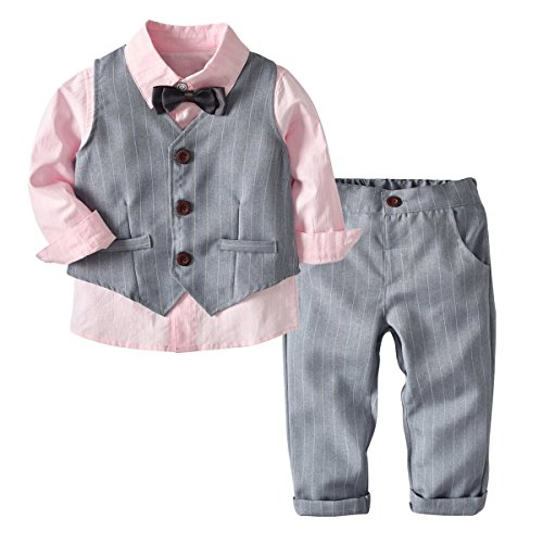 (4-5T, Pink + Grey) - Kid Boy Formal Suit Long Sleeve Shirt with Bow Tie + Waistcoat + Long Pants 3Pcs Baby Boy Bow Tie